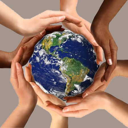 Photo 9 - Multi-ethnic Hands- Fair Trade Qualified - Gray background