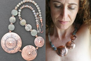 Photo 15 - Ildanach Studios Copyrighted Image 2014 - Limited Edition Statement Necklace - Starfire 3 Tier IMG 0007 and IMG 1096