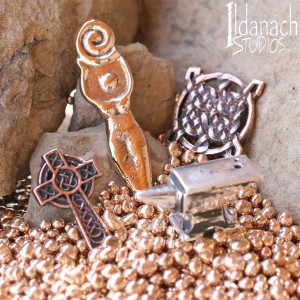 Ildanach Studios Copyrighted Image 2015 - Kickstarter Campaign Pendant Grouping - Cast Copper Bronze and Silver - IMG_8064
